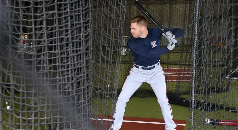 Atlanta Braves first baseman Freddie Freeman takes his first swings of spring training after arriving for camp on Sunday, Feb. 16, 2020, in North Port, Fla. (Photo by Curtis Compton/Atlanta Journal-Constitution/TNS/Sipa USA)
