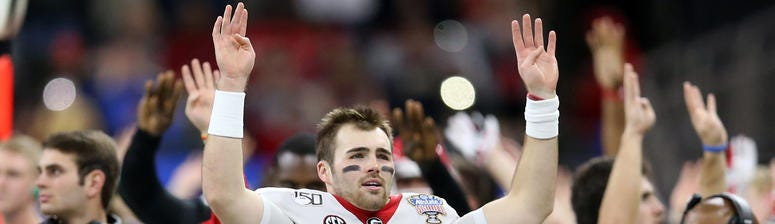 Jan 1, 2020; New Orleans, Louisiana, USA; Georgia Bulldogs quarterback Jake Fromm (11) signals the fourth quarter against the Baylor Bears in the Sugar Bowl at the Mercedes-Benz Superdome. Mandatory Credit: Chuck Cook-USA TODAY Sports