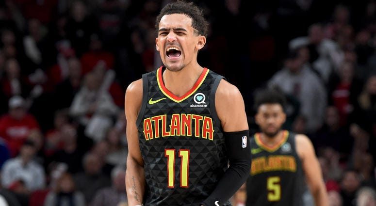 Atlanta Hawks guard Trae Young reacts to a play during the second half of the game against the Portland Trail Blazers at Moda Center. The Blazers won 124-113.
