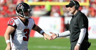 Falcons Head Coach Dan Quinn with Kicker Matt Bryant