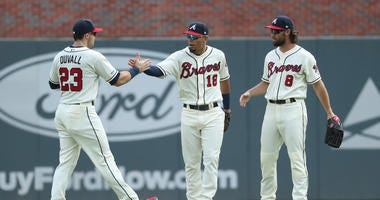 Braves Outfielders Adam Duvall and Rafael Ortega