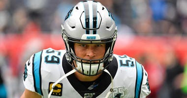 Oct 13, 2019; London, United Kingdom; Carolina Panthers middle linebacker Luke Kuechly (59) before an NFL International Series game against the Tampa Bay Buccaneers at Tottenham Hotspur Stadium. Mandatory Credit: Steve Flynn-USA TODAY Sports