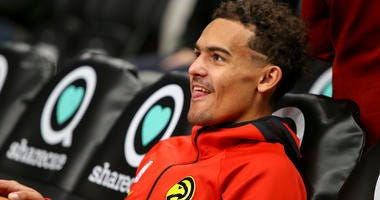 Dec 27, 2019; Atlanta, Georgia, USA; Atlanta Hawks guard Trae Young (11) looks on prior to the game against the Milwaukee Bucks at State Farm Arena. Mandatory Credit: Brett Davis-USA TODAY Sports