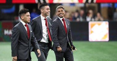 Atlanta United midfielder Ezequiel Barco, midfielder Miguel Almiron, and forward Josef Martinez