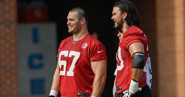 Atlanta Falcons guard Andy Levitre and tackle Jake Matthews