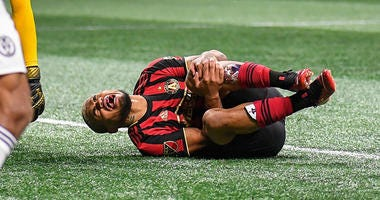 Atlanta United forward Josef Martinez (7) reacts after being injured against the Philadelphia Union