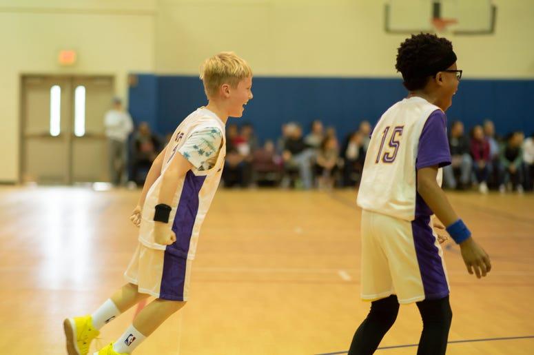 kids playing, score, basketball