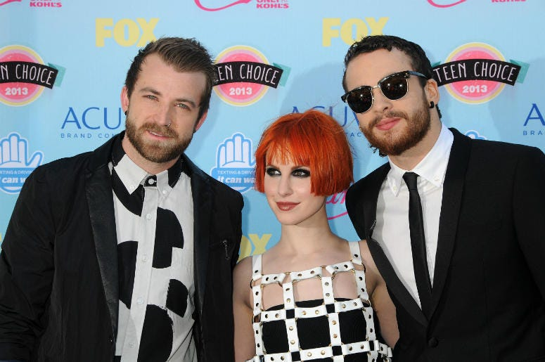 Jeremy Davis, Hayley Williams, Taylor York, Paramore. 2013 Teen Choice Awards - Arrivals held at Gibson Amphitheatre.